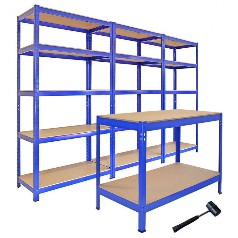 garage workbench units racking shelving storage blue t rax and q rax shelving and