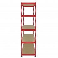 Z-Rax Red 90cm Heavy Duty Shelving Unit Side View