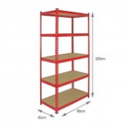 Z-Rax Red 90cm Heavy Duty Shelving Unit Measurements