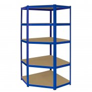 T-Rax Blue Corner Racking Bay - 90cm Wide: Side View