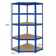 T-Rax Blue Corner Racking Bay - 90cm Wide: Dimensions