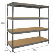 Q-Rax Grey Racking Storage Bay 160cm Wide - Dimensons