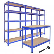 3 x T-Rax Steel Racking and Q-Rax Workbench Bundle